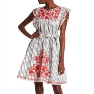 Kate Spade Broome St Stripe Embroidered Dress(D104